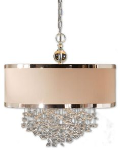 Silk and Silver DRUM PENDANT with Crystals, 3 Light Chandelier Hollywood Regency - So pretty I want for my foyer.