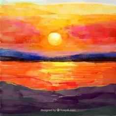 """Képtalálat a következőre: """"watercolor sunset"""""""