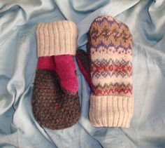 Wool mittens made from thrift store sweaters. My favorite pair.