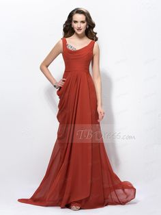 Attractive Cowl Beading Sweep/Brush Train Pick-ups Evening/Prom Dress