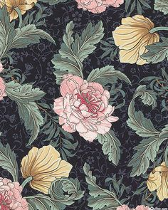 New art deco wallpaper blue william morris 60 Ideas William Morris Wallpaper, William Morris Art, Morris Wallpapers, Fleurs Art Nouveau, Motifs Art Nouveau, Textile Prints, Textiles, William Morris Patterns, Art Deco Wallpaper