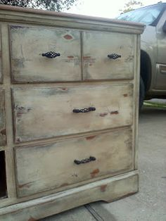 The JUNKtion: Old Weathered Paint Technique; My Bedroom Dresser