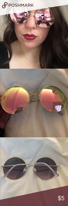 Mirrored Sunglasses Round Mirrored Sunglasses. Gently used once. Gold metal frames with purple and pink colored mirror lenses. Accessories Sunglasses