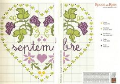 cross stitch hearts of the month birthday 09 of 12 September