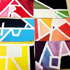 Sixth grade monochrome painting. Spell the word art in tape, paint, peel, done! #art #education #elementary