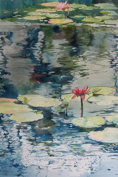 Watercolor is such a great medium to render reflections on water.  See step by step painting demos on ARTiful, painting demos by Sandrine Pelissier.