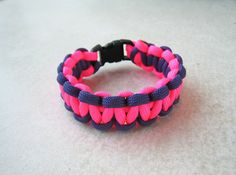 Paracord bracelet pink purple girl kids woman by stamparacord