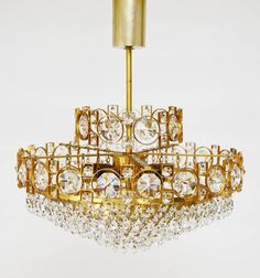Gilt Brass Sciolari Style Crystal Glass Chandelier or Flush Mount, Italy, Italian Chandelier, Chandelier Pendant Lights, Modern Chandelier, Flush Mount Lighting, Small Furniture, Living Room Lighting, Ceiling Lights, Crystals, Lamps