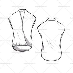 Women's Mandarin Wrap Cap Sleeve Blouse Fashion Flat Template