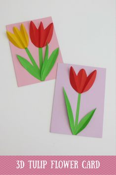 3D Tulip Flower Mother Day Card - ET Speaks From Home