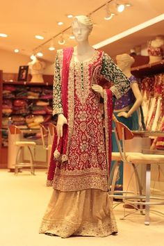 RED AND BEIGE PAKISTANI BRIDAL (Price: $2,699) Design No: 4/0011 Embroidery: Zardosi and Stone work Fabric: Chiffon/silk For more information please contact sales@sahil.com