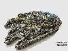 10,0000 piece Millennium Falcon made of Lego bricks