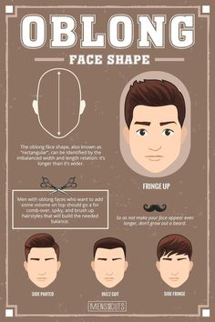 Oval Face ★Face shapes guide to matching your haircut perfectly. Take advantage of your unique face shape features and enhance them with your head and facial hair. Oval Face Haircuts Men, Face Shape Hairstyles Men, Oval Face Men, Haircut For Face Shape, Oblong Face Hairstyles, Oblong Face Shape, Oval Faces, Cool Haircuts, Haircuts For Men