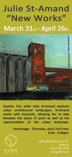 Julie St. Amand New Works March 31-May 3, 2015 Quebec City artist Julie St-Amand explores urban architectural landscapes. St-Amand works with encaustic, allowing her to play between the layers of paint as well as representing the aging urban landscape. Fascinated by surfaces of damage and wear, St-Amand explores the cityscape in search of the beauty in the derelict. Quebec City, Urban Landscape, New Words, It Works, Layers, Landscapes, March, Explore, Paint