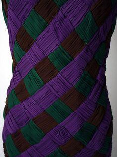 arnold scaasi robe tressage pliss soie marron vert et violet - Vert Et Violet