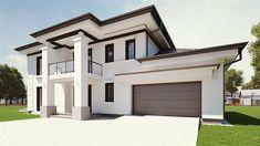 Projekt domu piętrowego uA50 o pow. 204,2 m2 z obszernym garażem, z dachem kopertowym, z tarasem, z wejściem od południa, sprawdź! 20 M2, My House Plans, Village Houses, Modern House Design, Autocad, Home Fashion, Custom Homes, Garage Doors, Exterior