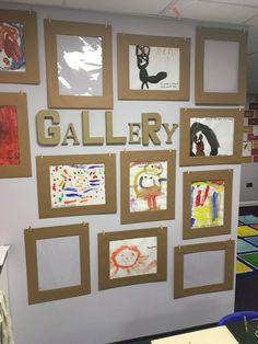 Kids art space, kids artwork, art for kids, school displays Kids Art Space, Kids Artwork, Art For Kids, Crafts For Kids, Wal Art, Preschool Activities, Preschool Art Display, Art Plastique, Teaching Art
