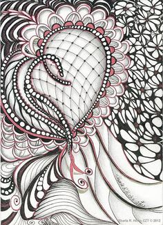 "Heart Felt Zentangle ©2012  5"" x 7"", Pigma Micron Pen, Graphite & Sakura Stardust Pens by Sharla R. Hicks CZT teaching Zentangle at Soft Expressions in Anaheim CA, via Flickr"