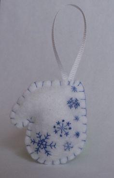RESERVED for bgierhart Miniature Mitten Felt Ornament