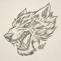Wolf illustration // Client W. Badass Drawings, Pencil Art Drawings, Cool Art Drawings, Animal Drawings, Tattoo Drawings, Art Sketches, Tribal Wolf Tattoo, Wolf Tattoo Design, Wolf Tattoos
