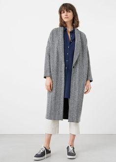 Sobretudo lã espiga | MANGO
