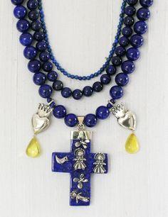 ddabb8b3c662 Collar cruz y corazones con corona - Gabriela Sánchez  Joyatlan   JoyeríaMexicana  Plata