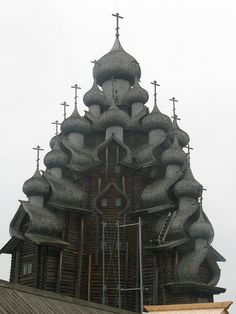 300-year-old wooden church on the island of Kizhi, Russia.
