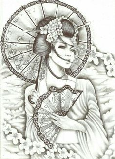 Geisha Tattoos, Geisha Tattoo Design, Tribal Tattoo Designs, Tribal Tattoos, Tatoo Geisha, Geisha Tattoo Sleeve, Art Geisha, Geisha Kunst, Geisha Drawing