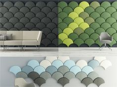 Keep it Down: Ten Creative Acoustic Screens - Taking inspiration from the Japanese Ginkgo tree leaf, these playful modular panels are made from felt polyester.