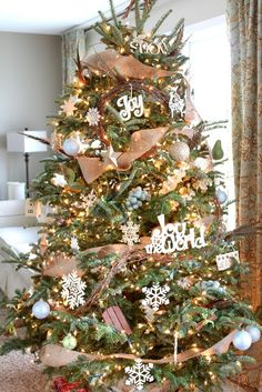 Just a Girl Blog » Neutral Christmas Tree Burlap and grapevine