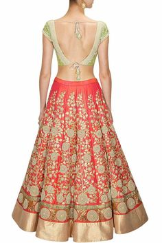 Coral color Bridal Lehenga Choli