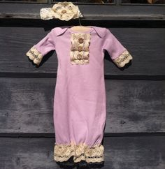 Custom infant gown layette vintage style lace by Rufflesnbuttons