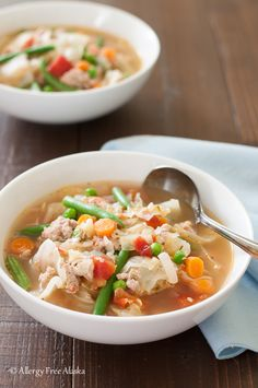 When I need a nourishing bowl of warm comfort food, this Ground Turkey and Garden Vegetable Soup with Quinoa recipe is what I make.