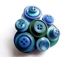 Button Blue Green Handmade Brooch £9.00