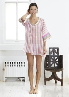 gauzy cotton striped top by two new york.
