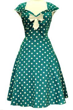 Jade Green Polkadot Isabella Rockabilly Dress