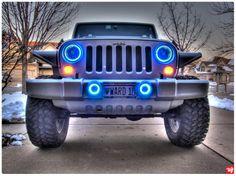 Jeep automobile - Jeep Halo Lights ~ Photo by. Jeep Tj, Jeep Rubicon, Jeep Wrangler, Jeep Front Bumpers, Blue Jeep, Car Head, Wheel Alignment, Brake Repair
