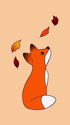 Dream Moon Wallpaper - My Wallpapers Cute Fox Drawing, Cute Animal Drawings, Kawaii Drawings, Easy Drawings, Kawaii Wallpaper, Wallpaper Iphone Cute, Cute Wallpapers, Wallpaper Wallpapers, Fuchs Illustration