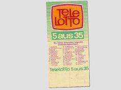 """DDR Museum - Museum: Objektdatenbank - Lottoschein """"Tele-Lotto"""" Copyright: DDR Museum, Berlin. Eine kommerzielle Nutzung des Bildes ist nicht erlaubt, but feel free to repin it!"""