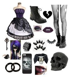 🕸punk princess 👑 by majastina2004 on Polyvore featuring polyvore fashion style Hot Topic Mattioli Metal Mulisha Concrete Minerals L.A. Girl Brooks clothing