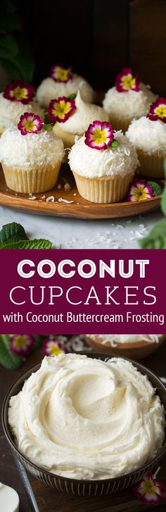Coconut Cupcakes with Coconut Buttercream Frosting | Posted By: DebbieNet.com