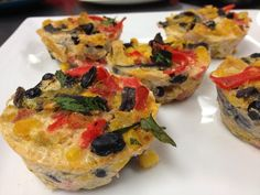 Mini Fiesta Frittatas: Veggie-packed egg casseroles made in a muffin tin. Make now and enjoy later for a quick breakfast before work or school.