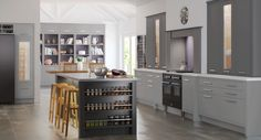 A Mereway English Classic kitchen in 2 tone grey lacquer. Kitchen ideas like this are becoming more and more popular. The doors are an inframe design.
