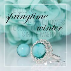 #Quote: The color of #Springtime is in the flowers, the color of #winter is in the imagination. - Terri Guillemets  Ring shown - KR021 Dahlia Ring with the KJPS32 Aqua Mist #PopRock