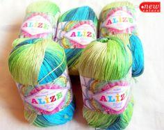 Batik designed cotton yarn Alize Miss Batik. 100% Mercerized Cotton. Multicolor in blues and greens. col. 3724.