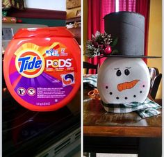 Turn tide pods into snowman Turn tide pods into snowman plasticcontainercrafts Plastic Container Crafts, Recycling Containers, Plastic Bottle Crafts, Plastic Containers, Plastic Bottles, Snowman Crafts, Crafts To Do, Christmas Projects, Holiday Crafts