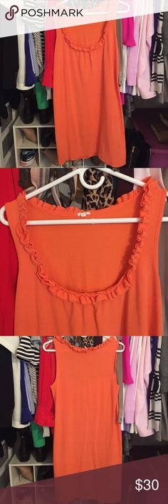 J.Crew sleeveless ruffle dress EUC J.Crew orange beach coverup/ casual dress. Ruffle detail around the neck as shown in pictures. Slight sign of wear around ruffle neck area. J. Crew Dresses Midi