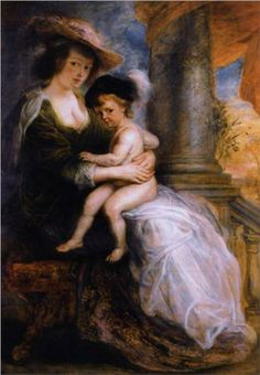 1635 Peter Paul Rubens (Flemish Baroque painter, 1577-1640) Artist's 2nd wife Helena Fourment with son Francis