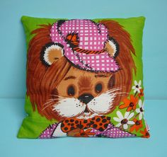 70s lion cushion pillow cover by koosidesign by koosidesign