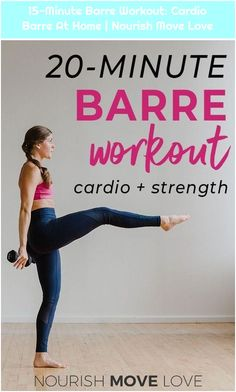 Barre Workout: Cardio Barre At Home Barre Workout Video, Barre Exercises At Home, Cardio Barre, Pilates Workout Routine, Home Workout Videos, At Home Workouts, Workout Tips, Gym Workouts, Yoga Fitness